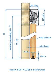 Prowadnice do drzwi Zestaw HERMES HE22 Do Drzwi Przesuwnych dł.220 cm 60kg - Valcomp