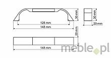 Uchwyt UA85 192 mm biały połysk, chrom połysk - Gamet