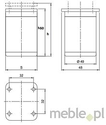 Nóżka Kwadratowa D-861 Z Regulacją wys.6cm BIAŁA - Amix