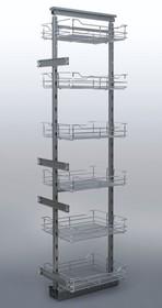 MAXIMA II cargo Maxi 60 5 poziomów metal lakier srebrny  *kosze z dnem drucianym * prowadnice pełnego wysuwu Fulterer z miękkim dociągiem...