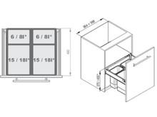 MAXIMA Szuflada z pojemnikami na odpady II 60 H=350 prowad. L450 - Rejs