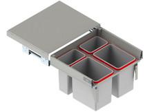 MAXIMA Szuflada z pojemnikami na odpady II 60 H=350 prowadnica L-450 metal lakier srebrny  * prowadnice pełnego wysuwu Rejs z miękkim dociągiem *...