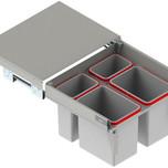 MAXIMA Szuflada z pojemnikami na odpady II 60 H=350 prowadnica L-500 metal lakier srebrny  * prowadnice pełnego wysuwu Rejs z miękkim dociągiem *...