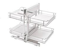 MAXIMA EVO Corner Comfort 1000 prawy metal/tworzywo chrom/biały  *kosze z dnem tworzywowym z powierzchnią redukującą poślizg * prowadnica kulkowe...