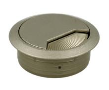 2-częściowa okrągła przelotka kablowa z amortyzowaną obrotową zaślepka w pokrywie. fi 60 mm w kolorze nikiel matowy .  Materiał: tworzywo sztuczne...