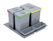 Pojemnik na odpady PRACTIKO 60 potrójny (1x12l = 2x5l) tworzywo sztuczne  Cechy produktu:  - potrójny - produkt z pokrywami w komplecie - plastikowe...