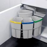 Kosz do sortowania odpadów Eko Center  Pojemność 1x12l + 3x9l Do korpusu o szerokości 50cm  Szerokość 450 mm Wysokość 525 mm Głębokość 450 mm...