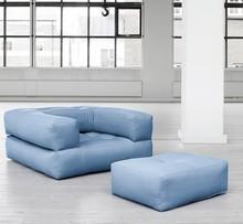CUBE - fotel z podnóżkiem i materac w jednym!