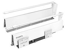 Szuflada Gamet Box firmy GAMET Dane techniczne: Wysokość boków 154mm Regulacja pionowa i pozioma panelu frontowego: +/- 2 mm Boki wykonane ze stali...