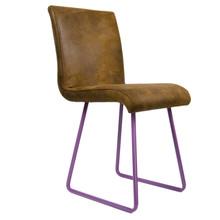 Tapicerowane siedzisko w kolorze brązowym.  podstawa: fioletowe gięte stalowe płozy siedzisko: brązowe tapicerowane  Wymiary: 42 cm x 45 cm x 86 cm