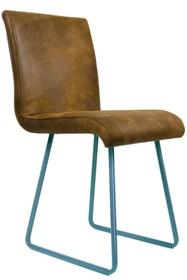 Krzesło tapicerowane na płozach - kolor turkusowy