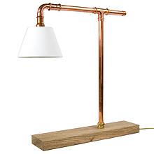 Lampa biurkowa z rurek miedzianych z abażurem. Stabilna dębowa, olejowana podstawa. E14, max 60W Lampa stołowa to nie tylko źródło światła. To...