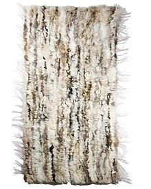 Dywan ręcznie tkany z kawałków skóry z naturalnym włosiem.  Kolor jasny melanż.  Wymiary: 60 cm x 160 cm