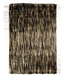 Dywan ręcznie tkany z kawałków skóry z naturalnym włosiem.  Kolor ciemny melanż.  Wymiary: 100 cm x 160 cm