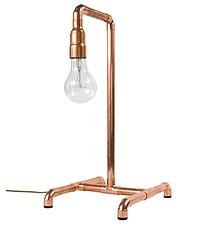 Lampa biurkowa z rurek miedzianych. E27, max 60W  Wymiary: 32 cm x 25 cm x 52 cm