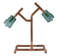 Lampa biurkowa z rurek miedzianych ze szklanymi abażurami. 2xE14, max 60W.  Wymiary: 35 cm x 18 cm x 55 cm