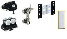 Zestaw zawiera wszystkie niezbędne elementy do 1 drzwi składanych 2-skrzydłowych prawych Profil jezdny i prowadzący należy zamówić oddzielnie...