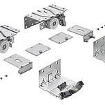 TopLine XL Zestaw synchronizacji drzwi Przednich do szafy 4-drzwiowej.  Elementy jezdne ze zintegrowaną regulacją wysokości Szybki montaż elementów...
