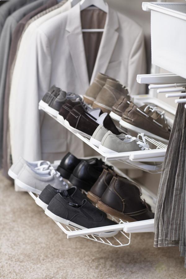 Zestaw Rega u0142 z pó u0142kami na buty do garderoby Elfa Classic Bia u0142y, Elfa Akcesoria