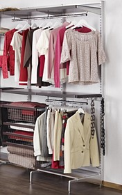 Zestaw: Regał z półkami do garderoby Elfa Decor Orzech/Biały