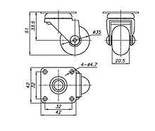 Kółko meblowe fi 35 mm z płytką/przeźroczyste - Amix
