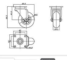 Kółko meblowe fi 50 mm z płytką/przeźroczyste - Amix