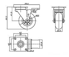 Kółko meblowe fi 50 mm z płytką i hamulcem/przeźroczyste - Amix
