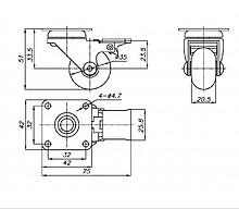 Kółko meblowe fi 35 mm z płytką i hamulcem/przeźroczyste - Amix