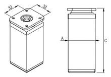 Nóżka Kwadratowa 40x40mm Z Regulacją wys. 10 cm INOX - Rejs