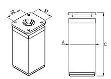 Nóżki Nóżka Kwadratowa 40x40mm Z Regulacją wys. 10 cm CHROM POŁYSK - Rejs