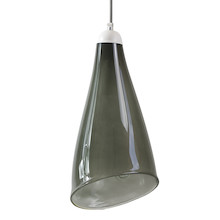 Szklana lampa wisząca, o interesującym kształcie i niezwykłym odcieniu szarości. Szkło ręcznie formowane, przez Polskich szklarzy. Każda lampa posiada...