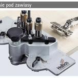 Szablon do nawierceń DrillJig Zawiasy, wiertła ø 35 mm / 2 x ø 2,5 mm  Jednoprzegubowy zawias z widoczną osią i ozdobnymi głowicami, montaż typu...
