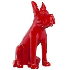 Posąg tego uroczego psa jest zrobiony z syntetycznej żywicy, barwionej na lakierowany czerwony. Współczesny, dekoracyjny przedmiot w przystępnej cenie....