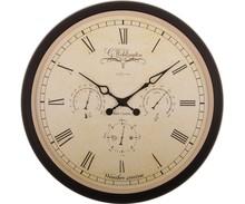 Weatherstation to bardzo pomysłowy zegar wzbogacony o trzy małe tarcze przedstawiające temperaturę, zachmurzenie i opad. To bardzo stylowa stacja...
