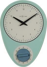 """Zegar 3097 BL """"Hans"""", którego projektantem jest NeXtime, posiada mechanizm skokowy zasilany za pomocą baterii typu AA. Zegar wykonany z szkła w..."""