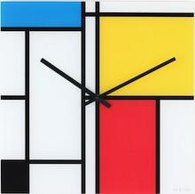 """Zegar 8156 """"Time Lines"""", którego projektantem jest 20four, posiada mechanizm skokowy zasilany za pomocą baterii typu AA. Zegar wykonany z szkła w..."""