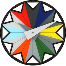 """Zegar 8163 """"Circus"""", którego projektantem jest Frank Clewits, posiada mechanizm skokowy zasilany za pomocą baterii typu AA. Zegar wykonany z..."""
