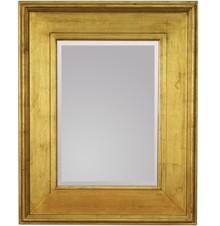 Okazałe lustro w prostej, szerokiej ramie. Rama lustra wykonana jest z drewna. Pokryta jest złotym, przecieranym i postarzanym szlagmetalem. Szlagmetal to...