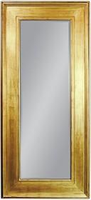 Potężne lustro w prostej, szerokiej ramie. Rama lustra wykonana jest z drewna. Pokryta jest złotym, przecieranym i postarzanym szlagmetalem. Szlagmetal to...