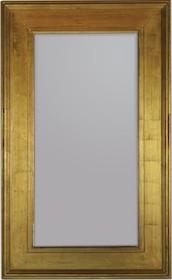 Pokaźne lustro w prostej, szerokiej ramie. Rama lustra wykonana jest z drewna. Pokryta jest złotym, przecieranym i postarzanym szlagmetalem. Szlagmetal to...