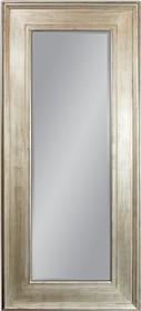 Potężne lustro w prostej, szerokiej ramie. Rama lustra wykonana jest z drewna. Pokryta jest srebrnym, przecieranym i postarzanym szlagmetalem. Szlagmetal to...