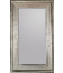 Pokaźne lustro w prostej, szerokiej ramie. Rama lustra wykonana jest z drewna. Pokryta jest srebrnym, przecieranym i postarzanym szlagmetalem. Szlagmetal to...