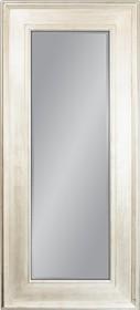 Potężne lustro w prostej, szerokiej ramie. Rama lustra wykonana jest z drewna i pokryta białym, przecieranym lakierem. Tafla lustra jest kryształowa,...