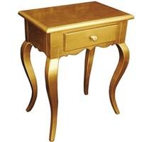 Stylowa Komódka w kolorze złotym, wykonana z wysokiej jakości drewna, pokryta złotym (szlagmetalem), posiada stylizowane nóżki.  Szlagmetal to...