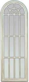 Niespotykane i oryginalne lustro w formie okna. Rama lustra wykonana jest z drewna i pokryta białym lakierem (przecieranym). Tafla lustra jest kryształowa....