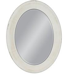 Eleganckie lustro w białej, prostej, owalnej ramie. Rama lustra wykonana jest z drewna. Pokryta jest białym i przecieranym lakierem. Tafla lustra jest...