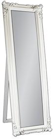 Eleganckie, podłogowe lustro w efektownej ramie. Rama lustra wykonana jest z drewna i pokryta białym lakierem. Tafla lustra jest kryształowa. Po...