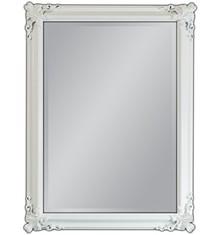 Barokowe lustro w wytwornie zdobionej, lakierowanej ramie. Rama lustra wykonana jest z drewna i pokryta białym lakierem. Tafla lustra jest kryształowa....