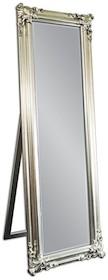 Eleganckie, podłogowe lustro w efektownej ramie. Rama lustra wykonana jest z drewna i pokryta srebrnym szlagmetalem. Szlagmetal to cieniutkie listki metalu...