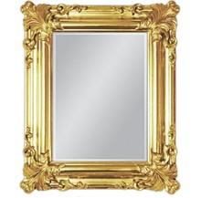 Wyjątkowe lustro w pozłacanej, pięknie zdobionej ramie. Rama lustra wykonana jest z drewna i pokryta złotym szlagmetalem. Szlagmetal to cieniutkie listki...